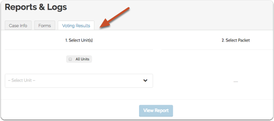 "Select the ""Voting Results"" tab to run a report on the voting results for a case within a selected unit"