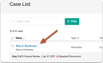 Navigate to the case you want to edit by clicking on the name of the candidate in the list of cases