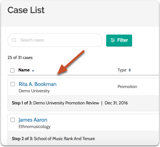Navigate to the case by clicking the candidate's name in your list of cases
