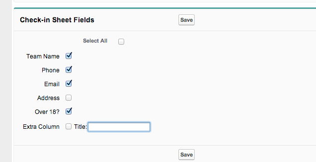 Turn columns on and off by checking boxes in the Check-In Sheet Fields section of the control panel.