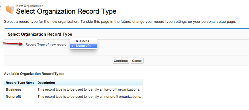 When you create a new organizational record, you can choose whether they are a nonprofit or business record.