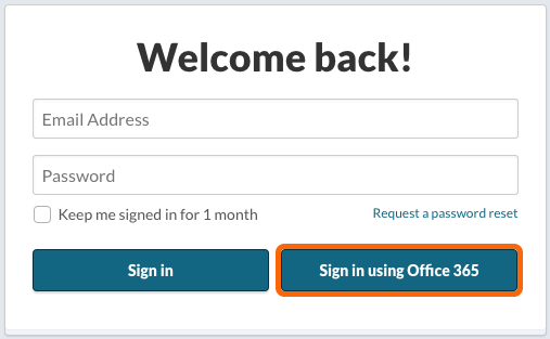 Office 365 OAuth2 Single Sign On Login Screen