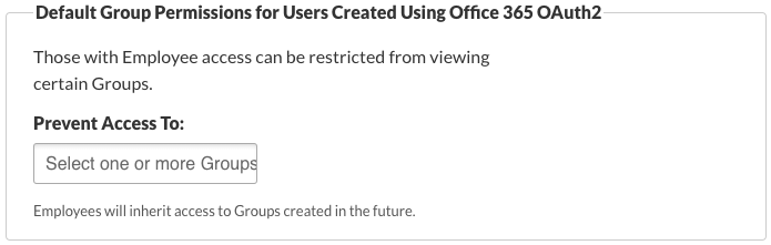 Default Group Permissions for Users Created Using Office 365 OAuth2