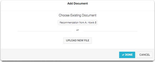 You can add a document from your Dossier or upload a new file