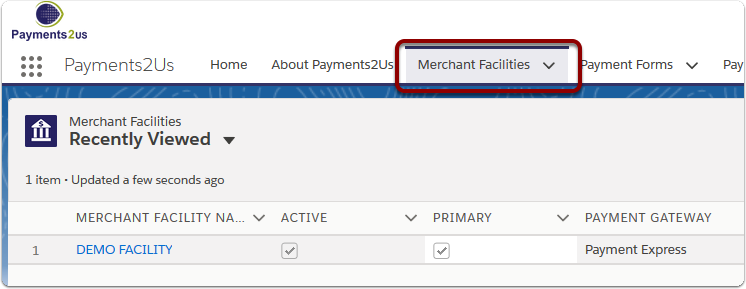 Navigate to the 'Merchant Facilities' tab