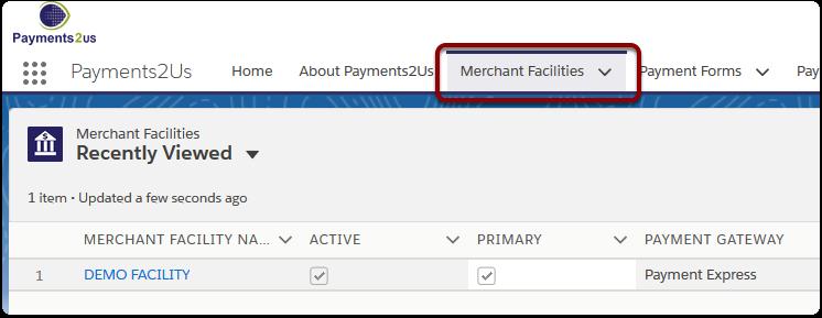 Navigate to the 'Merchant Facilities' tab