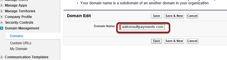 Add the domain to Salesforce