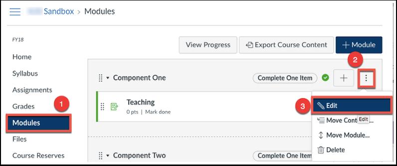 Click Modules, Options, Edit