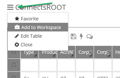 "Click the ""sandwich"", and then select Add to Workspace"