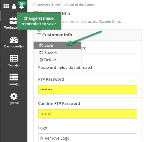 Enter FTP Password, Confirm FTP Password, and click Save