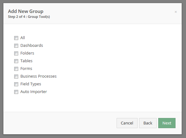Select what Tools you wish this user group to have access to.