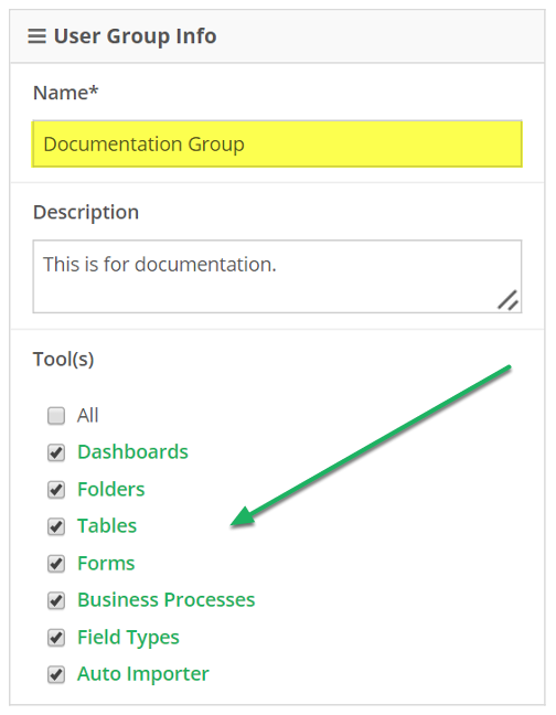 Name your group, and select group access privileges