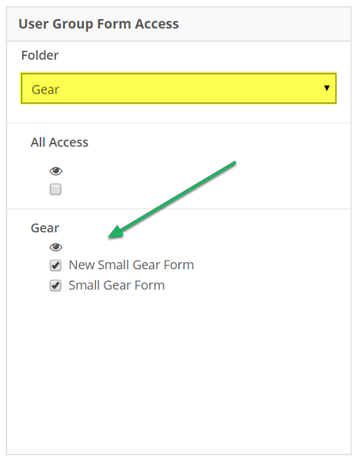 Select Form View privileges. Form selection can be narrowed with the Folder drop-down