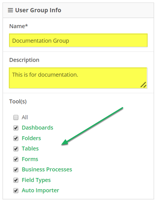 Edit group name, description, and Tools the group can access
