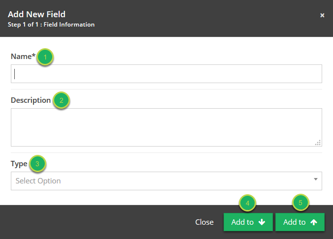 Name your field and select the type of field.