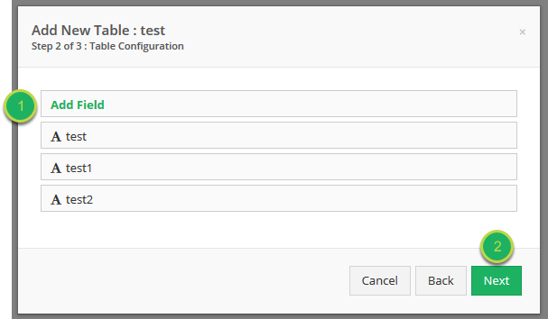 Continue adding your fields, once complete select Next.