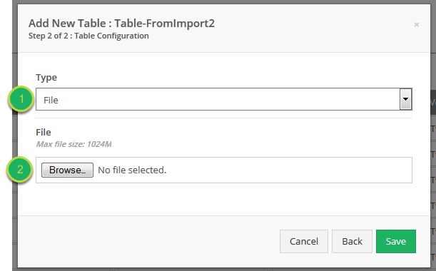 Creating the table by selecting a file.