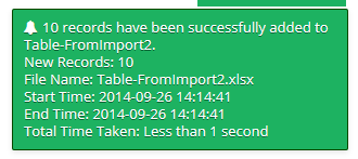 A notification will pop up in the top right corner of your screen when the table has imported.