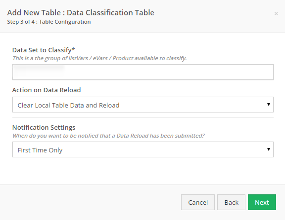 Choose the Data Set you wish to use.