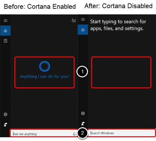 Cortana Disabled