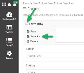 Click 'Save As' under the form info sandwich button.
