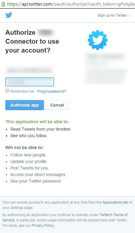 Authorize Twitter.