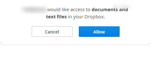 Dropbox will ask for permission to connect.