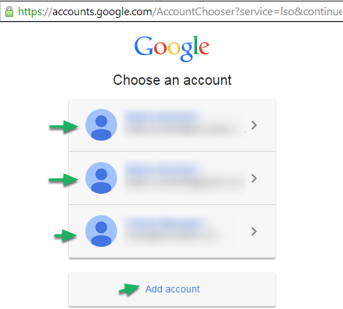 Choose which account to connect to.