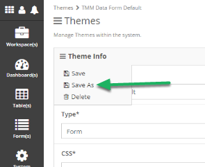 Use Save As to Save as a new Theme