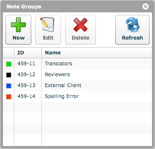 'Note Groups'