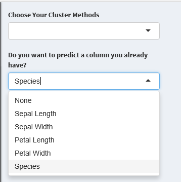 A column that you choose to exclude from the clustering will still appear in the final data frame. This is a diagnostic tool to examine a categorization that already exists within the data.