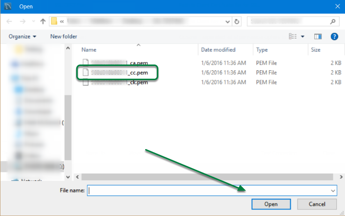 Select file ending in '_cc.pem' and click 'Open'.