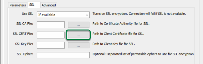 Browse for Client Certificate File by clicking '...' button beside 'SSL CERT File'.