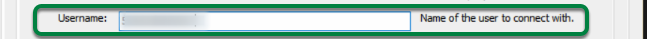 Enter your MySQL Username in the 'Username' box, under 'Parameters'.