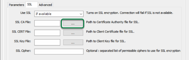 Browse for Certificate Authority File by clicking '...' button beside 'SSL CA File'.