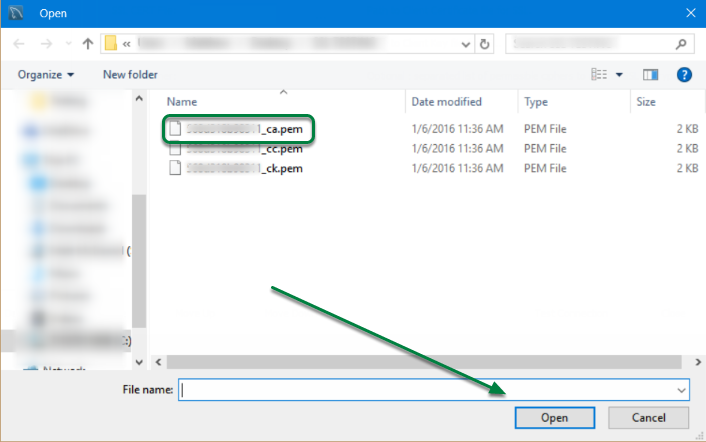 Select file ending in '_ca.pem' and click 'Open'.