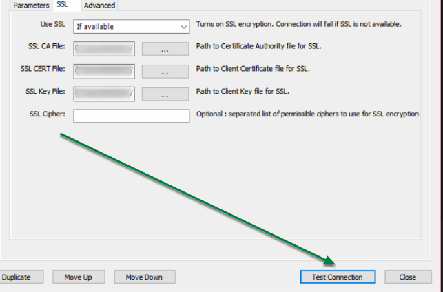 Verify that configuration is correct by clicking 'Test Connection'.