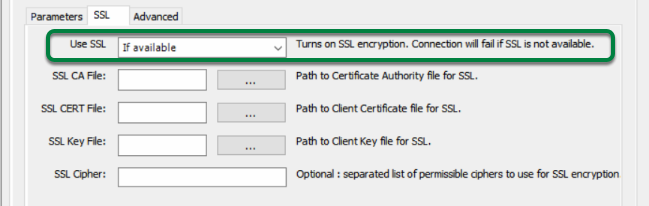 Make sure that 'Use SSL' option is set to 'If available'.
