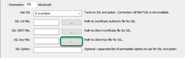 Browse for Client Key File by clicking '...' button beside 'SSL Key File'.
