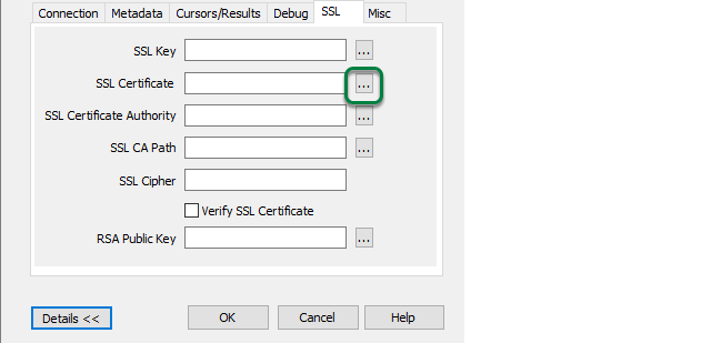 Browse for Client Certificate File by clicking '...' button beside 'SSL Certificate'.