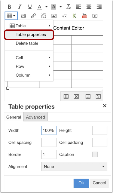 Edit General Table Properties