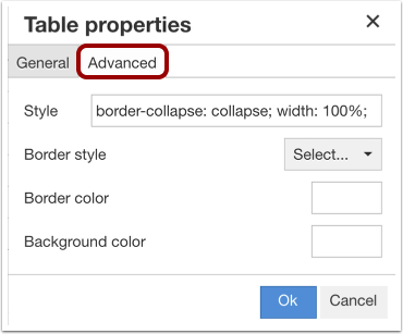 Edit Advanced Table Properties