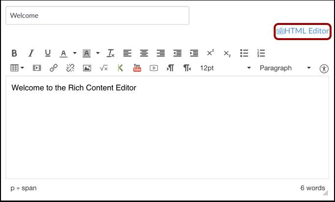 Ouvrir l'éditeur HTML