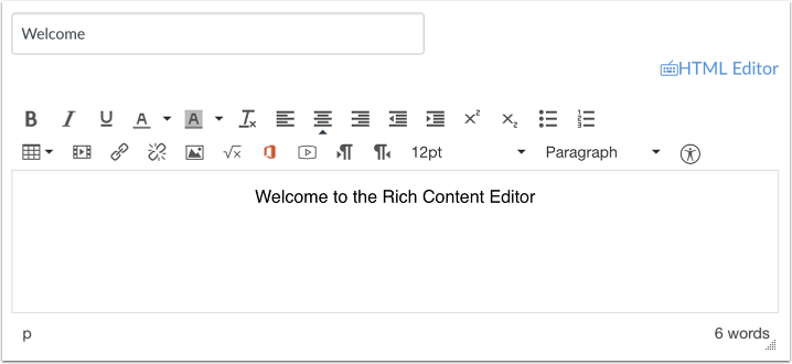 Rich Content Editor openen