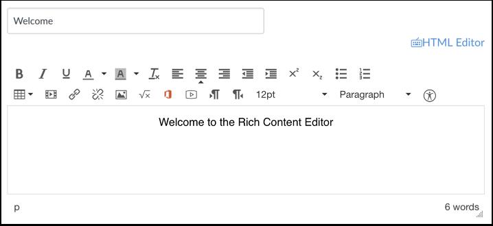 Ouvrir l'éditeur de contenu enrichi
