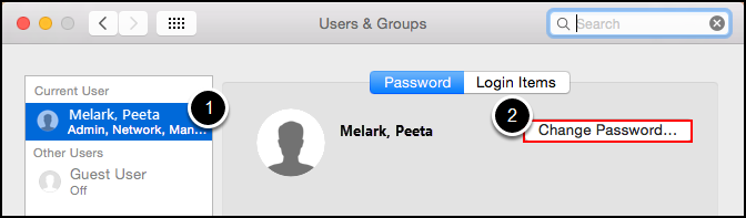 Users & Groups screen
