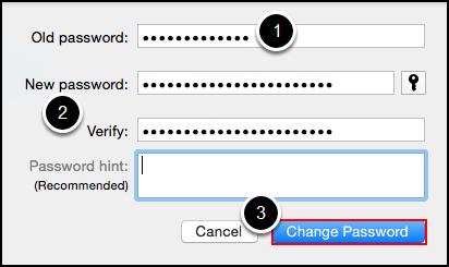 Password change fields