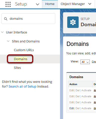 Setup > Administration > Domain Management