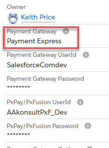 Select 'Payment Express' from the Payment Gateway drop down menu