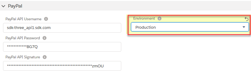 Set the PayPal Environment to 'Production'